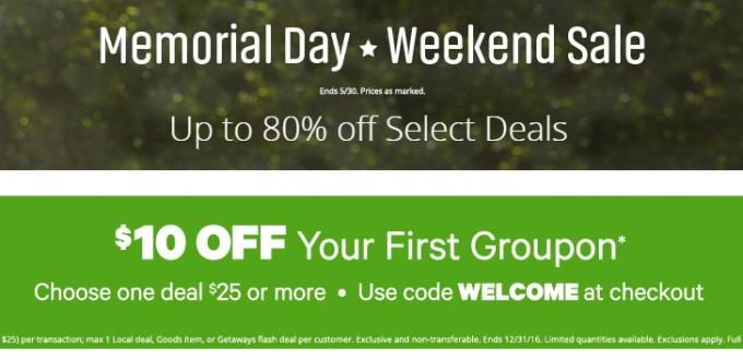 groupon 80%-- off- select-goods-memorial-day