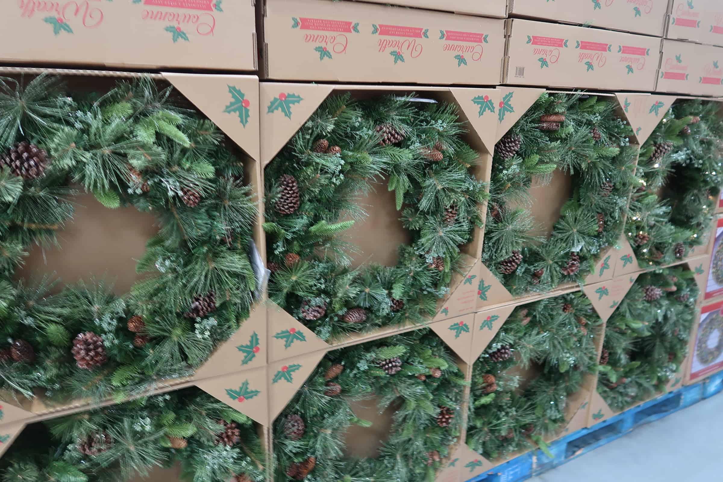 holiday wreaths and decor at costco
