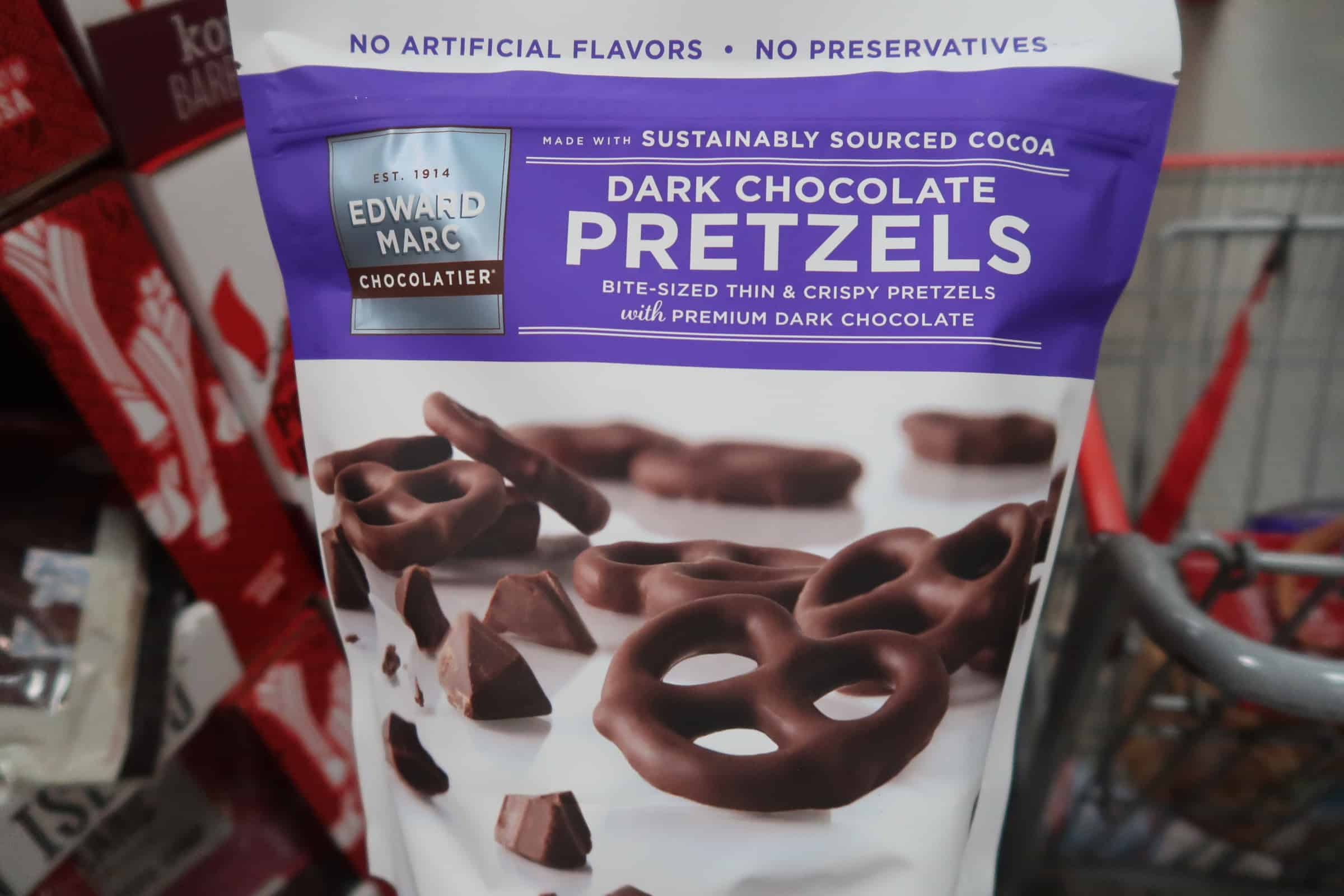 dark chocolate covered pretzels Costco