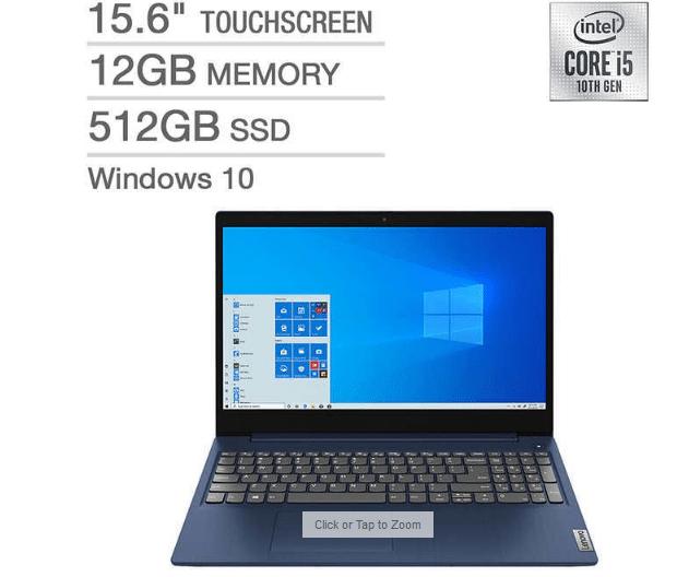 Lenovo Ideapad 3 Touchscreen Laptop $499