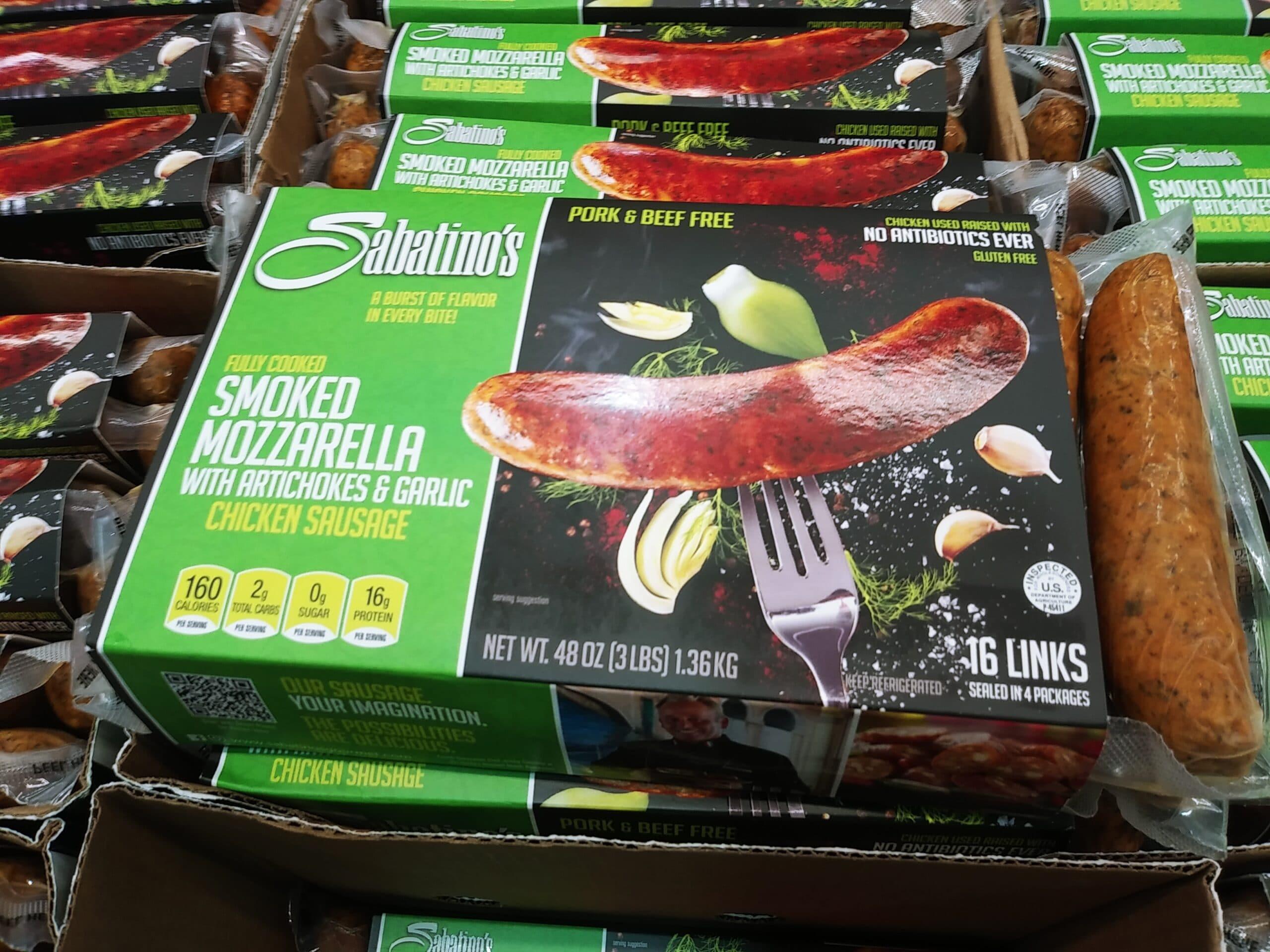 Sabatinos Smoked Chicken Mozzarella Sausage 2pk $6.49 Each