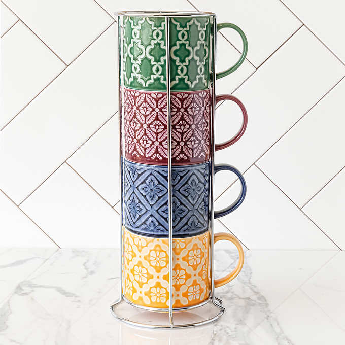 Over and Back Stacking Mugs with Rack $14.99